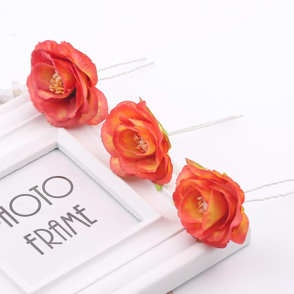 New Arrival Headdress Headwear wedding Hair Clips Headpiece headwear artificial rose floral hair Pins Bridesmaid