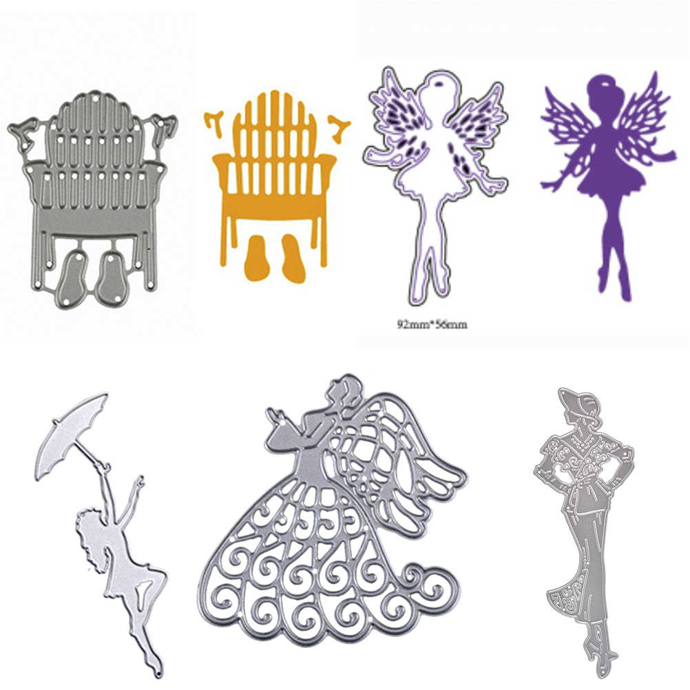 DIY резки металла умирает Скрапбукинг с Трафареты декоративные карты тиснения балетки угол фея леди танец зонтик стул