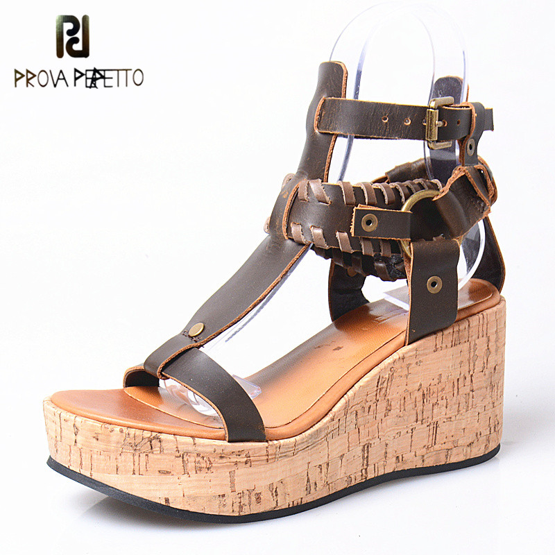 Prova Perfetto Bohemia Women Sandal Wedge Shoe Woman T-Strap Pump Shoes Real Leather High Heel Sandals Muffin Platform Sandals сумка чехол для бензопилы sterwins