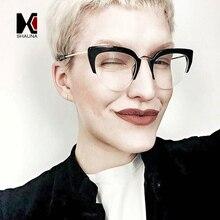 SHAUNA Fashion Half Frame Women Cat Eye Yellow Tint Sunglasses Brand Designer Ladies Clear Lens Glasses Frame  UV400