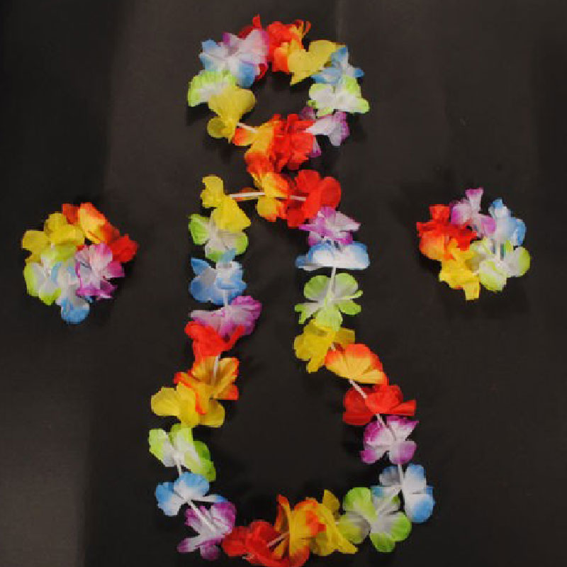 4pcs Hawaiian Flower Set Necklace Headband Bracelets Garland Lei Party Dress