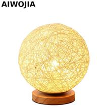 LED wood cane twine Table Lamps For Living Room Night Lamp Bedroom Wood E27 Light