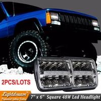 2PCS 6x7 7x6 Inch Led Sealed Beam 45W Led Headlight H Low Beam With Parking Light
