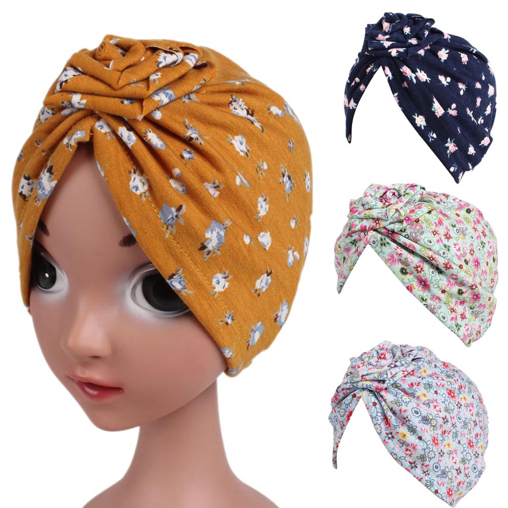 Fashion baby girls hat print Floral Bandanas Baby Girls Boho Hat Beanie Scarf Turban Head Wrap Cap winter hat photography props