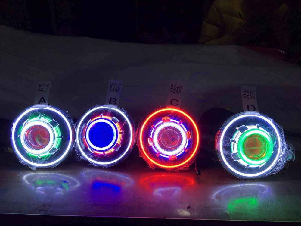 One Pair 7 Inches JK Led Starry Headlights With Devil Demon Eye And Led Angel Halo
