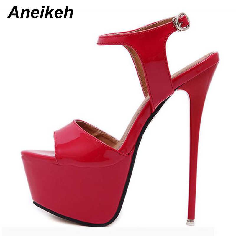 Aneikeh 2019 Yaz platform sandaletler Seksi 16 cm Kadın Sandalet Yüksek Topuklu Burnu açık Toka Gece Kulübü Ayakkabı Siyah Büyük Boy 44 45 46