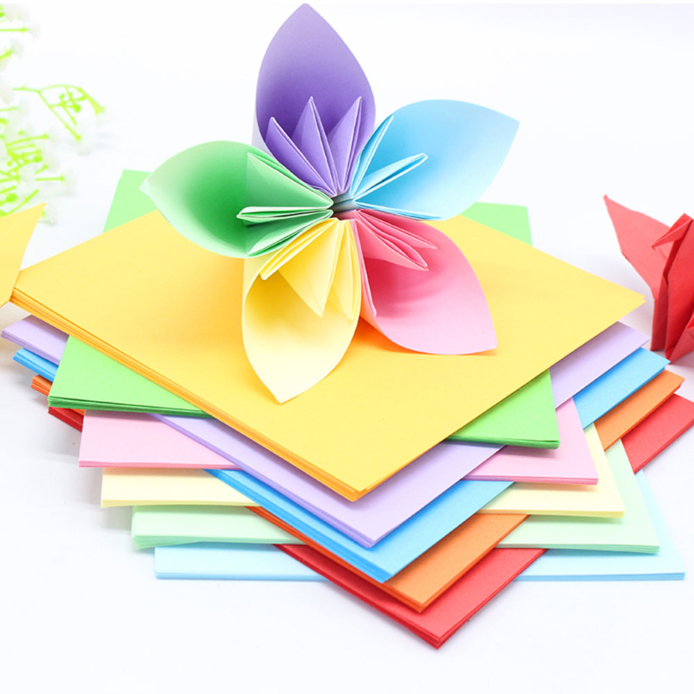 Double sided craft paper - 100 Sheets Multi Color Double Sided Colored Paper Assorted Colors Origami A4 Square Scrapbooking School