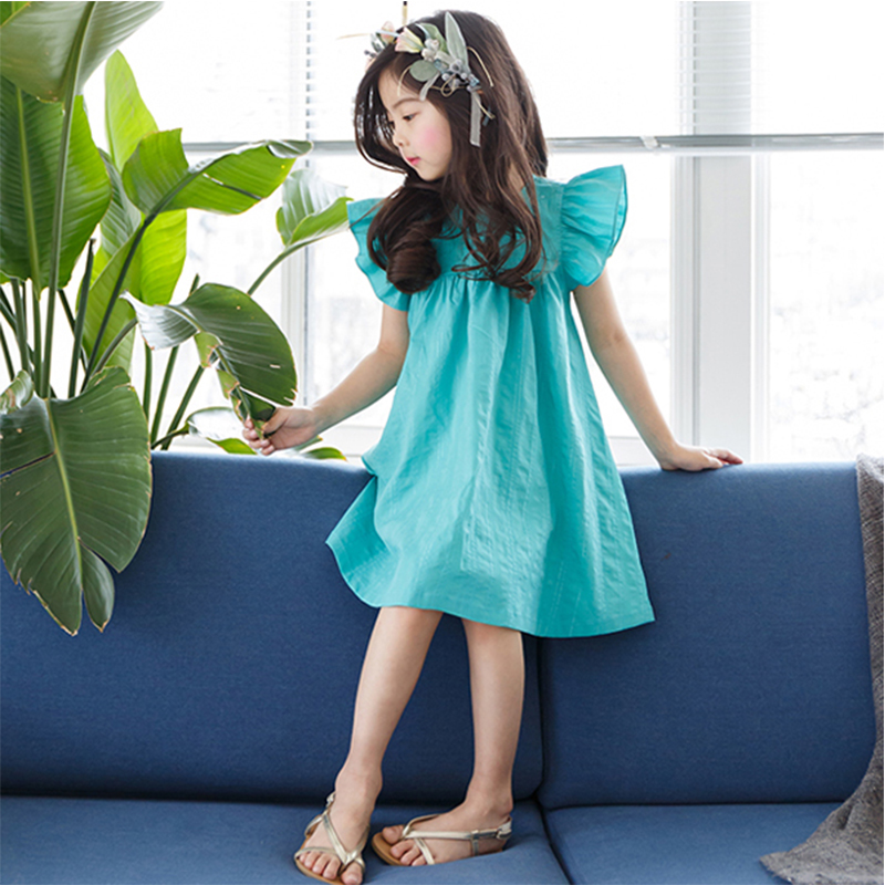 Girls Summer Dress Cute Mint Aqua Flutter Sleeves Spring Green Childrens Frock Cool Style for Age 5678910 11 12 13 14 Years old aqua aqualon dark green 100m 0 18mm 13 60kg