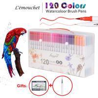 120 สี Dual แปรง Marker ปากกา Fineliner สีน้ำ Art Markers การประดิษฐ์ตัวอักษรสีวาดอุปกรณ์ศิลปะ Marker Pad