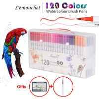 120 colores de doble punta pincel rotulador Fineliner acuarela arte marcadores caligrafía para colorear dibujo arte suministros con marcador