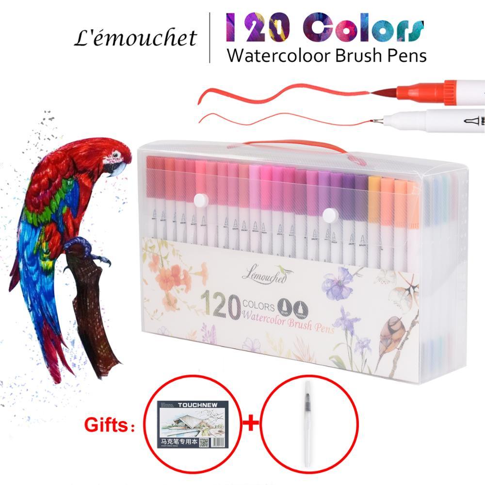 120 couleurs double pointe pinceau marqueurs Fineliner aquarelle Art marqueurs calligraphie coloriage dessin Art fournitures avec marqueur