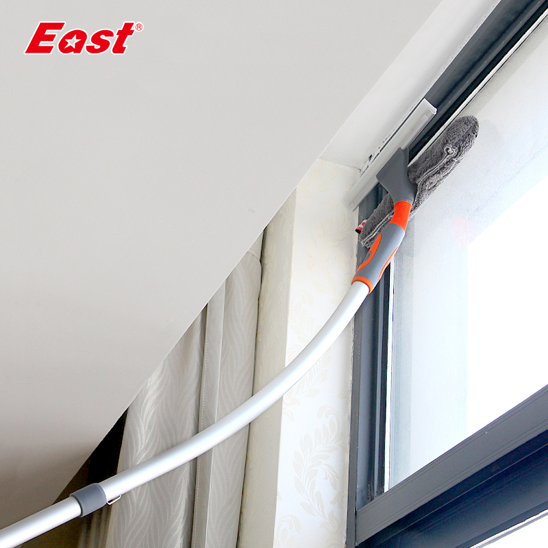 East Window Cleaner Glass Window Cleaning Brushes Squeegee Telescopic Rod Wiping Scraper Rubber Brush House Cleaning