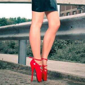 "Image 5 - ยี่ห้อใหม่ 7 ""ส้นสูงเซ็กซี่แสดงสาวบัลเล่ต์ปั๊มSpike Stiletto Pointed Toe Strappyข้อเท้าสีดำสีแดงรองเท้า"