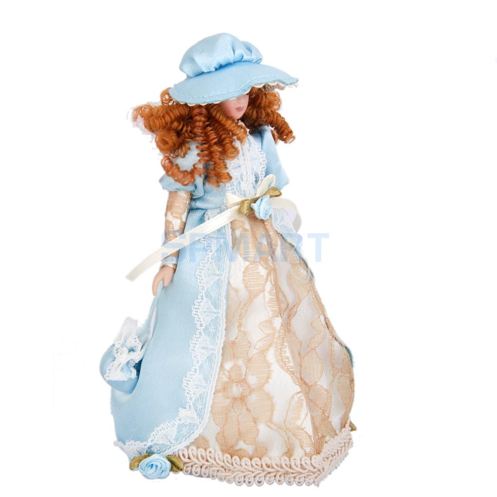 Dollhouse Miniature Porcelain Dolls Victorian Lady in Dress & Hat w/ Stand 1