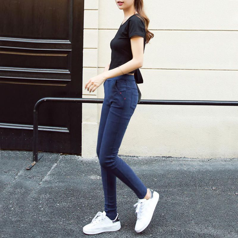 2017 Skinny Jeans Women Autumn Fashion Washed Elastic Denim Trousers Pencil Slim Capris Pants Female High Waist Jeans L2 free shipping women s skinny pants jeans female jeans belt clothing pencil pants elastic women s trend