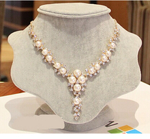 ZOSHI Bling Austria Crystal Rhinestone Simulated Pearl Beads Choker Necklaces Women Flower Pendant Necklace Collares Mujer