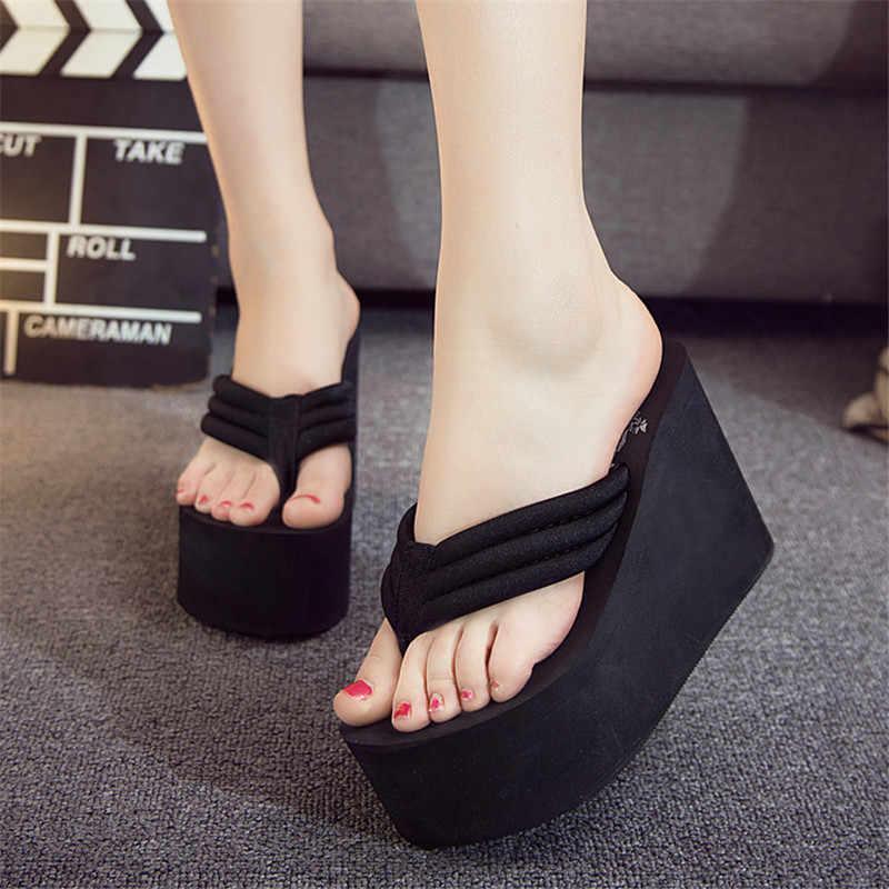 Очень высокие Вьетнамки; пляжные шлепанцы ручной работы в гавайском стиле; женские летние сандалии; уличные шлепанцы; обувь на каблуке; Size35-41 на платформе