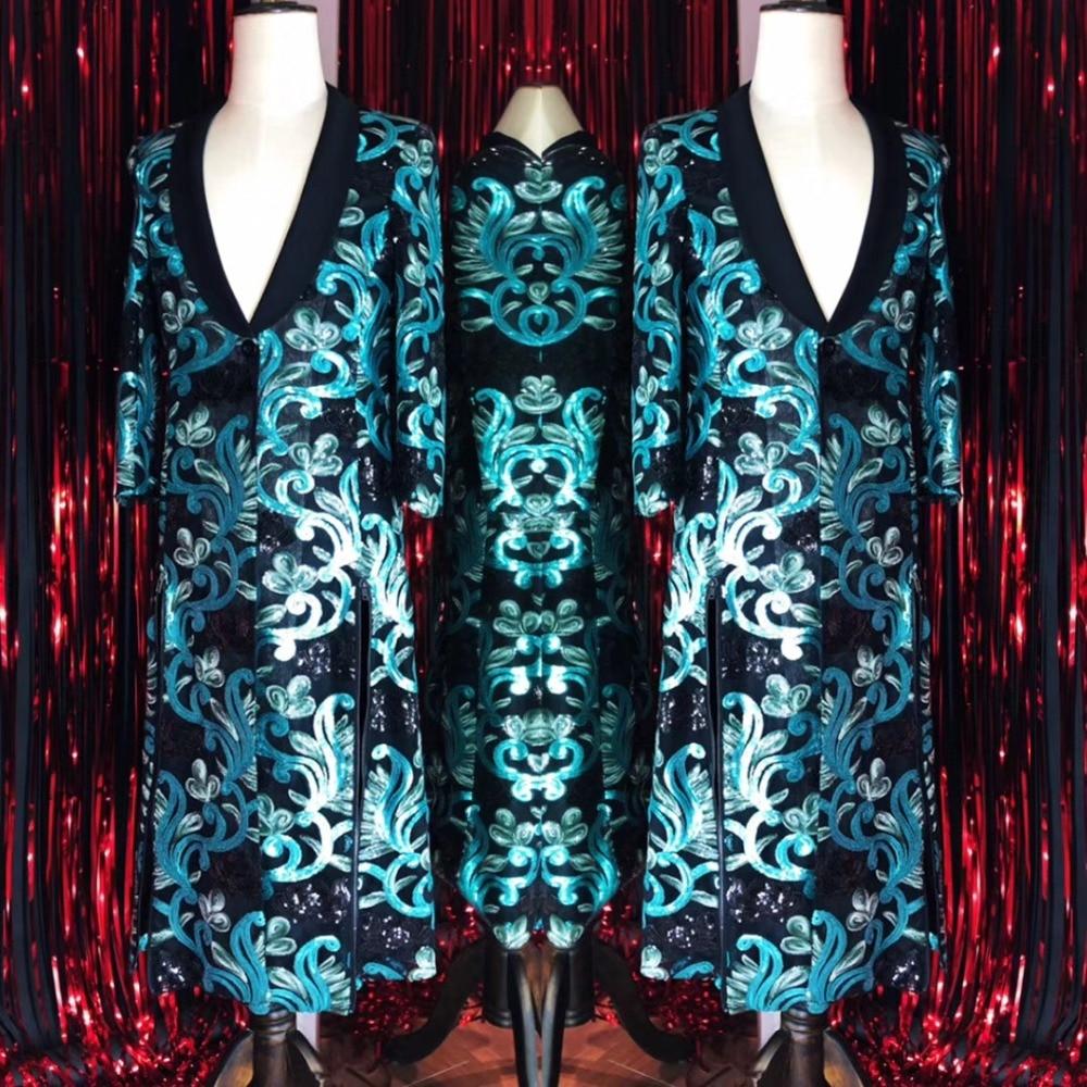 Big Size S-4XL Lelaki Embroidery Jacket Long Design Coat Penyanyi - Pakaian lelaki - Foto 1