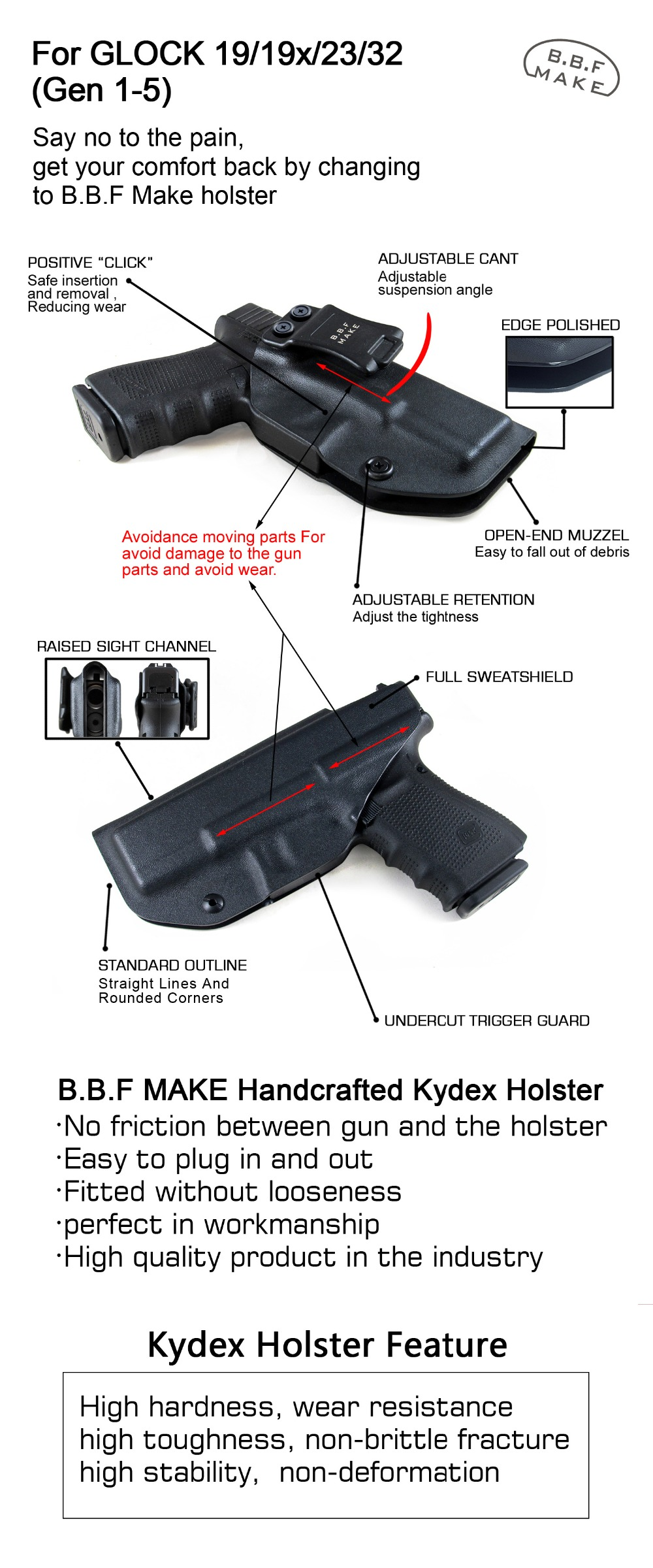 B B F Make IWB Carbon Fiber Woven KYDEX Gun Holster Fits: Glock 19 23 25 32  Cz p10c Inside Concealed Carry Pistol Case
