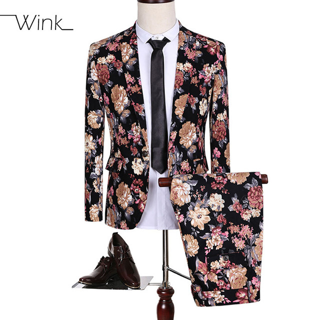 (Jacket+Pant) Luxury Blazer Suits Men Flowers Slim Fit Suits Plus Size 5XL Single Button Costume Homme Wedding Dress Party S144