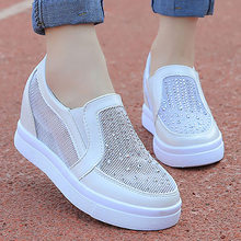 2019 New elegant trendy women leather shoes comfortable sewing platform sneakers ladies Rhinestone Embroidery men shoes 35-39(China)