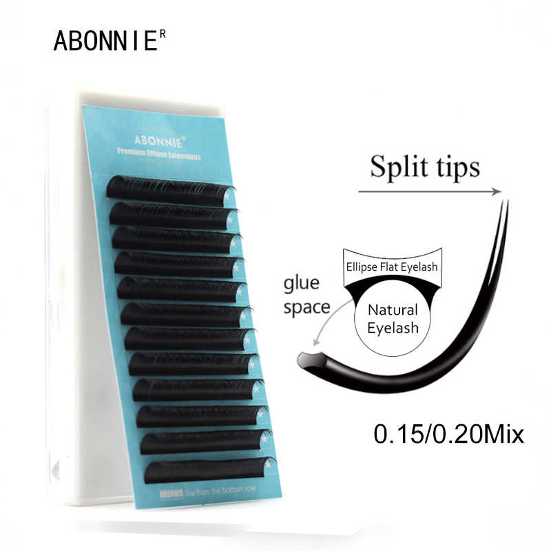 bdcc070c39e ABONNIUE Flat Ellipse Eyelash Extensions split tips ellipse shaped soft and natural  false eyelash Faux mink