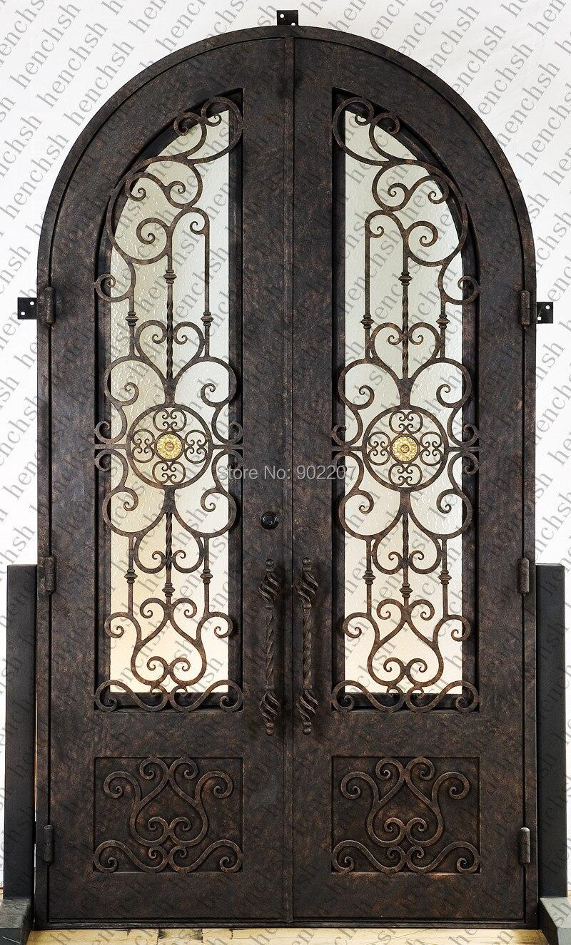 shanghai henchuang custom design hierro forjado puerta de entrada del fabricante modelo henchid