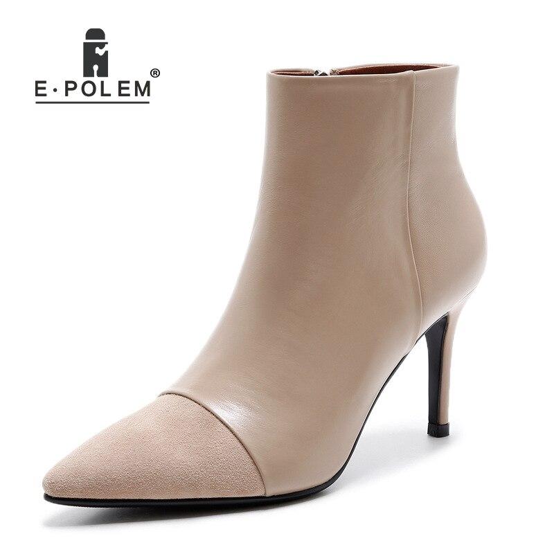 2018 nouvelles bottes femmes automne hiver Patchwork cuir côté fermeture à glissière bas bottes de banlieue supérieure bout pointu chaussures à talons hauts