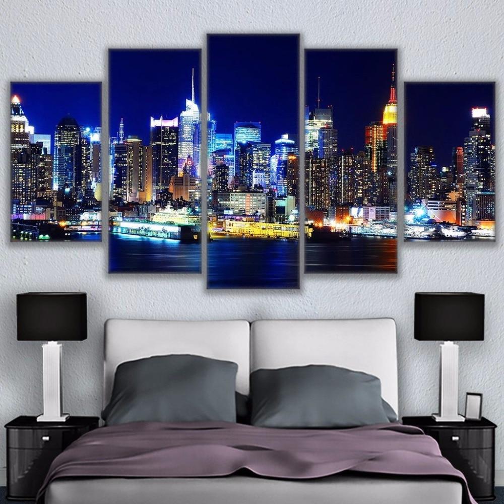 Los Angeles Skyline Night Time Poster 5 Piece Canvas Print Wall Art Decor