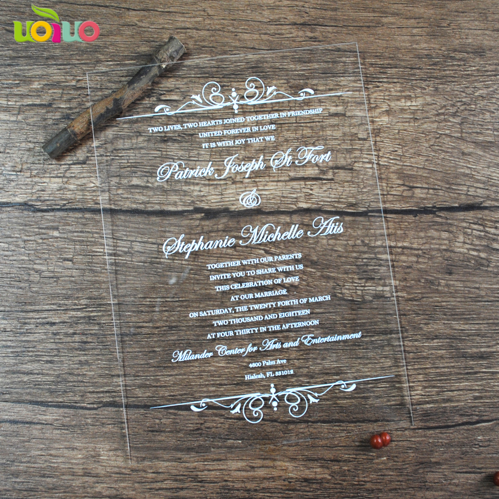 US $56 0 |30pcs laser engraved or print clear acrylic wedding invitation  card custom invitation card acrylic sheet-in Cards & Invitations from Home  &