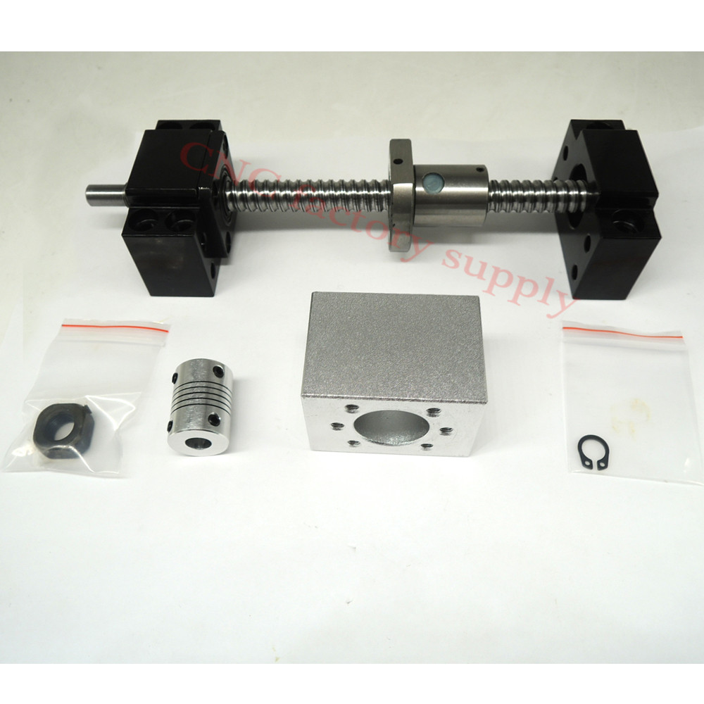 SFU1204 set:SFU1204 L-400mm rolled ball screw C7 with end machined + 1204 ball nut + nut housing+BK/BF10 end support + coupler