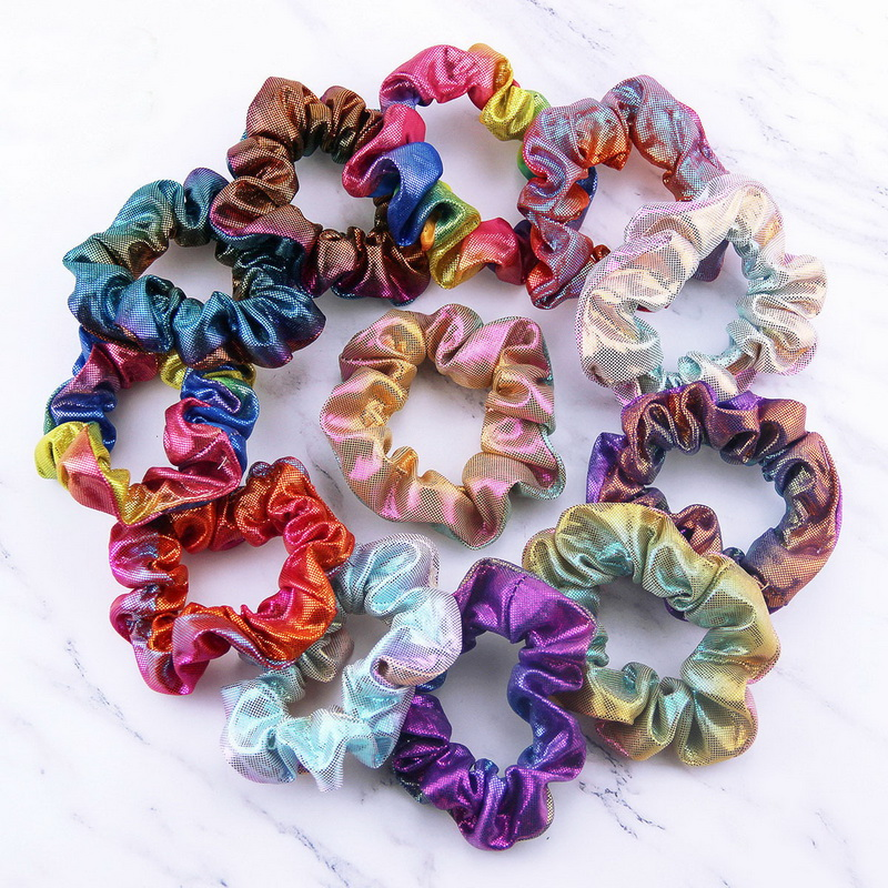 Hearty 5pcs/lot Metallic Color Ladies Hairbands Women Reflective Shiny Hair Bands Gradient Laser Fabric Hair Scrunchies Headdress C530 Catalogues Will Be Sent Upon Request
