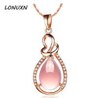 Natural semi precious stones High quality Pink crystal Hibiscus women Jewelry gold necklace water drop Pendant girlfriend gift