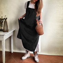 Women Dress 2018 Summer Casual Loose Sleeveless Pockets Solid Dresses  Backless Baggy Mid-calf Vestidos b837c9682e97