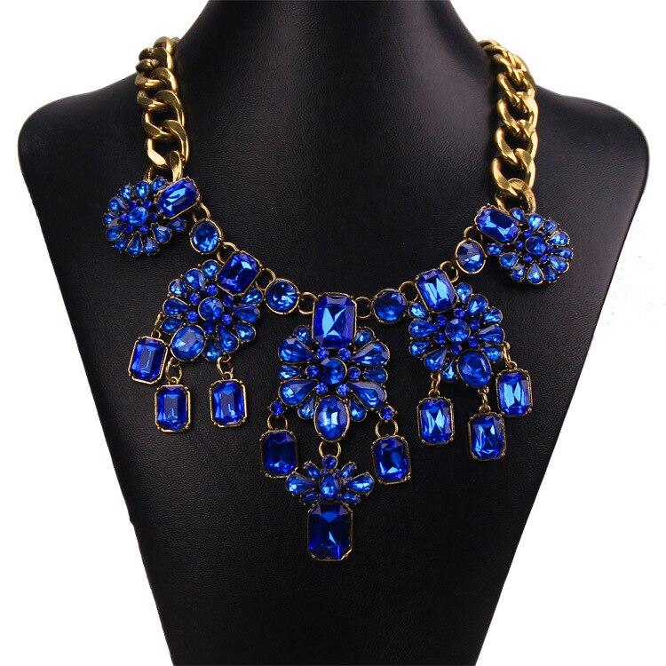 New Women Gorgeous Brand Blue Crystal Pendants Nec...