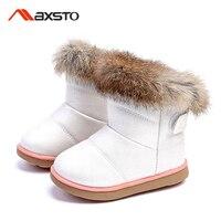 Winter Girls Boots Kids Sonw Boots Children Winter Shoes Warm Fur Plush Waterproof Rubber PU Leather