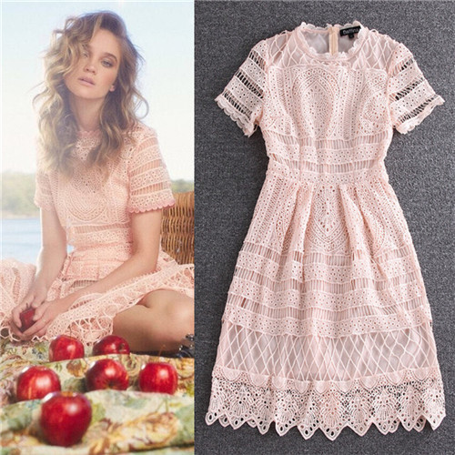 Casual New Designer Dresses 2016 Women High Quality Lace Pink White Short Sleeve Over Knee Dress Embroidered O Neck In From S
