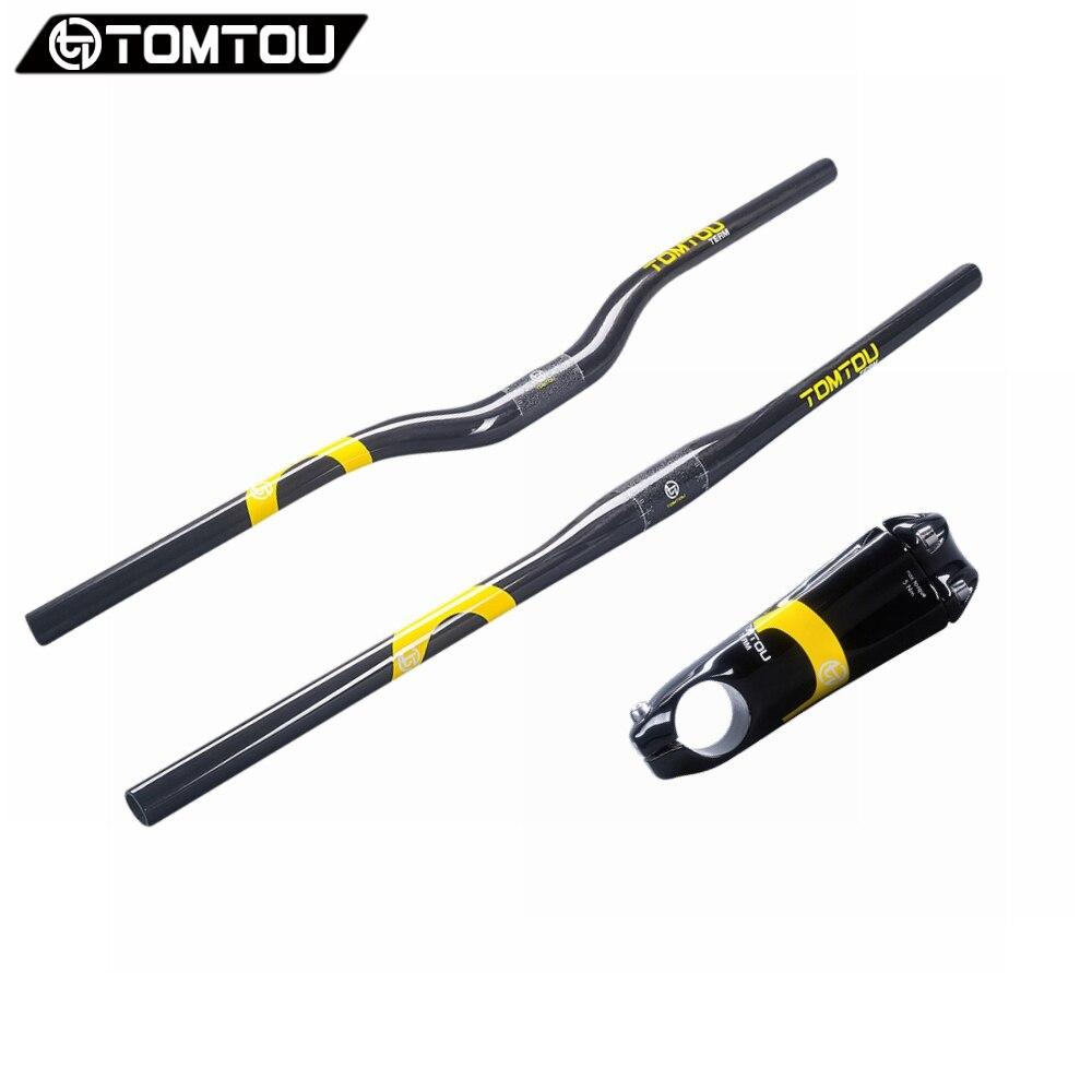 TOMTOU complet UD Fibre de carbone montagne vélo guidon ensembles vélo guidon + tige vélo vtt pièces brillant jaune-TC2T36