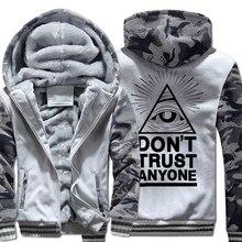 2019 New hot  Fleece Brand Thick fashion Dont Trust Anyone Illuminati All Seeing Eye Harajuku funny O-neck hoodies men Hipster