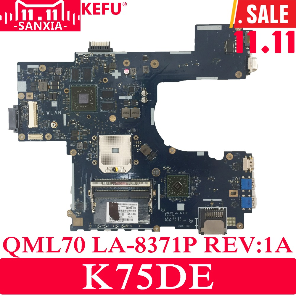 KEFU QML70 LA-8371P Laptop motherboard for ASUS K75DE Test original mainboard for asus k75de k75dr k75d x75d a75d k75dy motherboard laptop mainboard qml70 la8371p rev 1a 100% tested motherboard