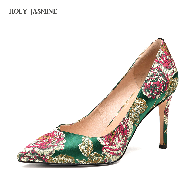 2017 Women's Shoes green Palms summer autumn shoes women high heels pumps embroider denim pointed toe party wedding dress pumps siketu 2017 free shipping spring and autumn women shoes fashion sex high heels shoes red wedding shoes pumps g107
