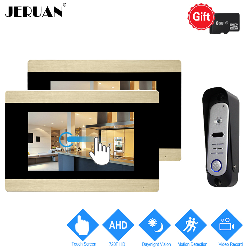 JERUAN 7`` Touch Screen Video Door Phone Intercom System 720P AHD Motion Detection 2 Record Monitor+ 1 HD Waterproof Camera 1V2 jeruan home 7 video door phone intercom system kit rfid waterproof touch key password keypad camera remote control in stock
