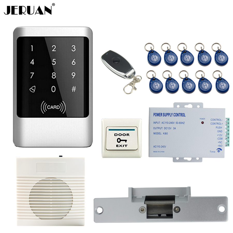 JERUAN Metal Waterproof RFID Password touch Access Controller system kit+speaker doorbell+Remote control+In stock Free shipping metal shell touch keyboard 125khz rfid access control system entrance guard password and rfid 10pcs crystal keyfob