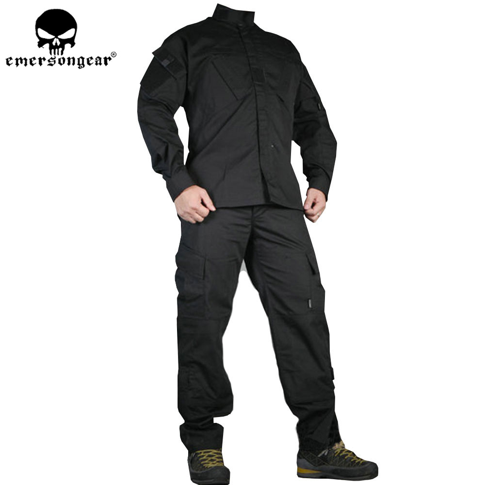 EMERSONGEAR Tactical BDU Combat Uniform Military Airsoft  ARMY Hunting Shirt & Pants Black EM6904 emersongear g3 combat uniform shirt
