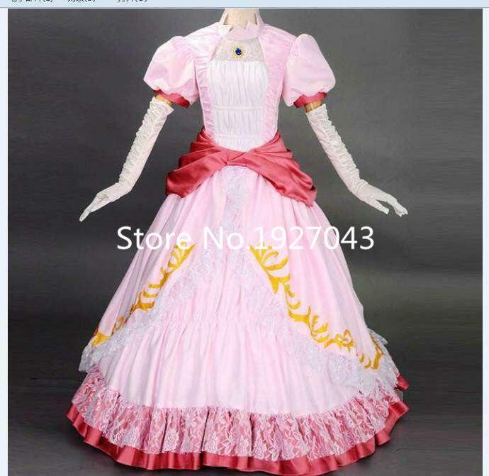 Super Mario bros and luigi cosplay princess peach costume women kids adult halloween costumes pink Dress custom