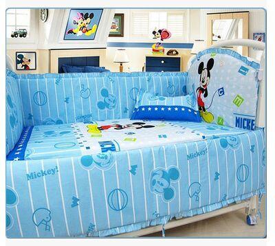Kingtoy 5 PCS Newborn Baby bedding set Cartoon Infant bed Sheet 100% cotton Kids bedclothes include pillow bumpers mattress