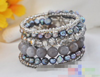 08712 Stretch Glaring black pearl faceted crystal gray agate bangle Natural >>free shipping