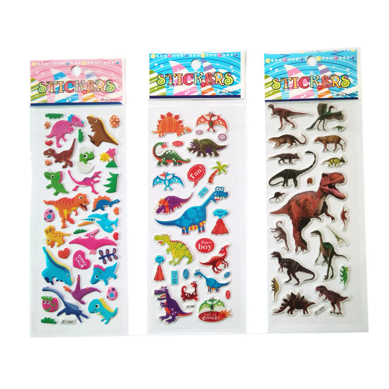3PCS / Lot Mixed Cartoon Dinosaur Bubble Stickers Children Kids Boys Girls Cartoon Stickers Decoration Birthday Gift For