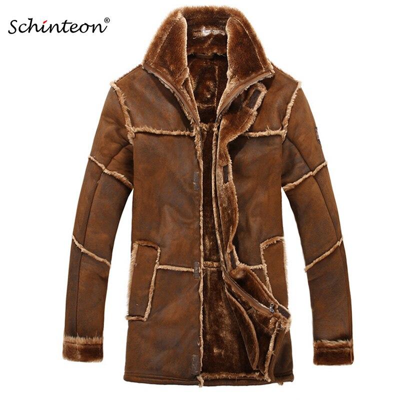 European Style Male Fashion Thick Warm Outwear Winter Men Faux Fur Coat Spliced Suede Leather Jacket Parkas Over Size