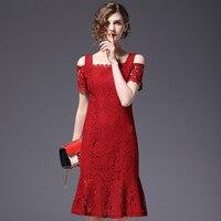 새로운 도착 패션 차가운 어깨 여성 레이스 드레스